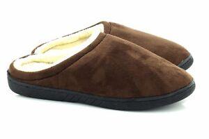 Mens Warm Brown Soft Suede Fleece Slip On Mule Slippers