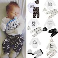 3PCS Set Newborn Baby Girl Boy Clothes Romper Shirt Tops+Long Pants+Hat Outfits