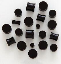"1 Pair 1/2"" Organic Black Onyx Solid Stone Saddle Plugs Ear 12mm"
