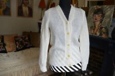 Ladies hand knit cream mohair cardigan size 8-10 small