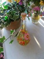 "HAND PAINTED GLASS DECANTER BOTTLE JUG vodka liquor signed russian ?? 10"" tall"
