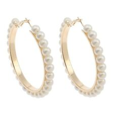 Hoop Earring Black White Pearl Earring with stainless steel pin Big Circle Loop