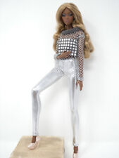 Silver Mesh Top & Silver Tights Handmade by KK Fits Fashion Royalty, FR2 NuFace