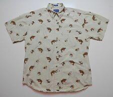 Pendleton Wollen Mills Button Front Short Sleeve Shirt Mens Size L Bass Fly