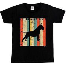 1Tee Niños Niñas Bull Terrier Perro Raza-Colorido Retro T-Shirt