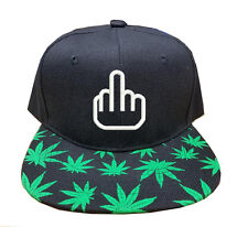 F*CK YOU HAPPY FINGERS Marijuana Weed Leaf Snapback Cap Hat Adjustable one size