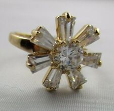 Ring Size 8 Brilliant Cubic Zirconia Cluster Baguettes Flower Gold Filled NWT T4