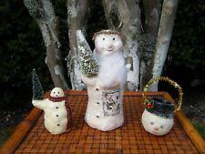 Snowman Figurines Teena Flanner? Chalk ware? Glitter Euc!