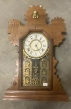 Ornate Wood Ingraham Gingerbread Kitchen Mantle Clock