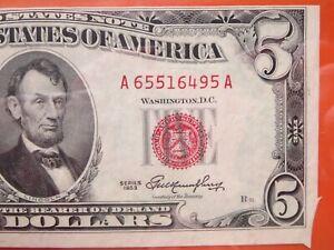 $5 1953 US note graded error: minor cutting  26-001