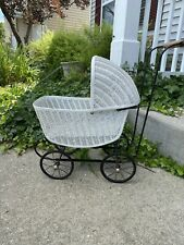 Antique Baby Doll Stroller Vintage Wicker Carriage Buggy