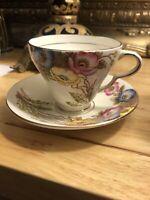 Vintage Taylor & Kent Longton England Bone China Tea Cup & Saucer Floral