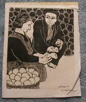 VINTAGE MEL OBERMAN GERMAN WOODBLOCK PRINT FARMER VEGETABLES DAMAGED CONDITION