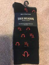 2 Pair Of Men's True Religion logo black / red Crew Socks size 10 - 13 NWT