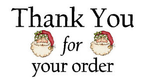 325 x THANK YOU FOR YOUR ORDER - FATHER CHRISTMAS - STICKERS MATTE WHITE LABELS