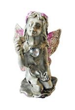 Kneeling Fairy Glittery Small Pewter Ornament