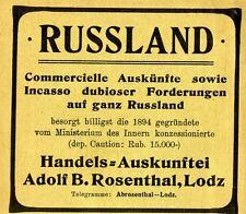 Rosenthal Lodz RUSSLAND INKASSO DUBIOSER FORDERUNGEN Historische Reklame 1905