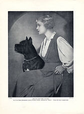 GLAMOROUS LADY AND BOXER DOG ORIGINAL DOG PRINT PAGE FROM 1934