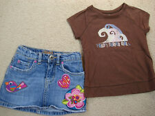 Cute! Toddler Girls Skort Skirt and Surfer Girl Shirt - Size 3T