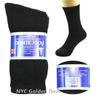 New Black 3-12 Pairs Men Diabetic Crew Circulatory Health Socks Cotton Size 9-15