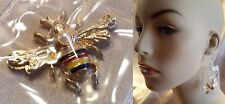 DESIGNER INSPIRED GOLD BEE CLEAR LINK LUGGAGE TAG DANGLE DROP EARRINGS NEW