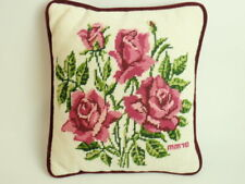 Vintage Hand Crafted Needlepoint Pillow Red Pink Roses Maroon Velvet Square 1978