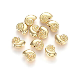 50pc Gold Plated Alloy Shell Conch Metal Beads Carved Nickel Free Spacers 8x11mm