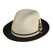 STACY ADAMS SALE ** MENS TAN & BROWN FEDORA HAT * XL * NEW BRAID STRAW SUN SHADY