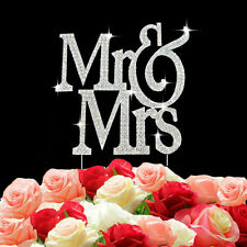 Mr & Mrs Cake Topper Wedding Decoration Rhinestone And Diamante Bling Sign Pick