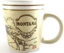 Montana Decorative Coffee Cup Mug Tan Brown White Moose Mountains Scene