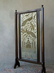Antique Embroidery Peacocks Silk Goldwork Embossed Free Standing - Delivery
