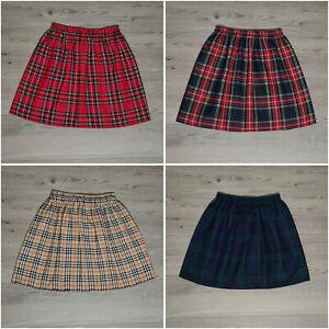 Tartan Skirt Girls Womens Elastic Waist 4 Colours Age 1 yr to Adult Mum Daughter