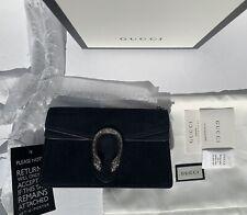 Gucci Super Mini Dionysus ante y bolsa de cuero negro con cadena y llavero/Nuevo