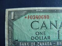 1954 Canada 1 Dollar Replacement Bank Note-*AF0340680-VF Cond.  20-351