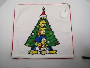 "Pottery Barn Teen The Simpson Family Pillow Cover White Red Christmas 18"" #9589"