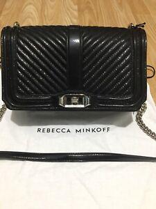 Rebecca Minkoff Chevron quilted patent leather love crossbody handbag chain bag