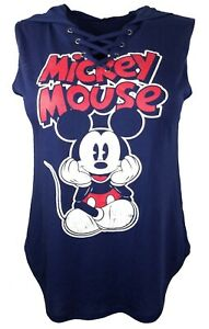 Mickey Mouse Laced Up V-Neck Hooded Sleeveless Navy Blue Tank Top Shirt | M (34)