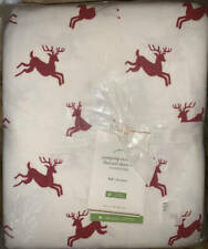 New~Pottery Barn Jumping Reindeer Flannel Sheet Set~FULL