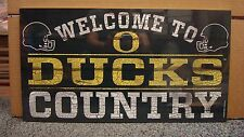 """OREGON DUCKS WELCOME TO DUCKS COUNTRY WOOD SIGN 13""""X24'' NEW WINCRAFT"""