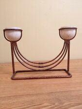 Vintage Brass & Marble Double Candle Holder