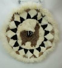 Alpaca Llama Fur Rug Round Brown White Handmade Size 33x33
