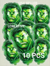 """10 PC HULK BALLOONS BIRTHDAY PARTY FACE SHAPE DECORATIONS CENTER PIECES 18"""""""