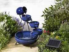 Solar Water Feature Blue Cascade Garden Decoration Trickling Waterfall Fountain