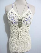Sleeveless Cotton Blend Halter Regular Tops & Blouses for Women