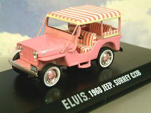 SUPERB GREENLIGHT 1/43 DIECAST 1960 JEEP SURREY CJ3B ELVIS PRESLEY PINK #86472