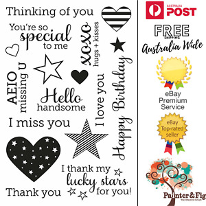 Sentiments Stamps - I Love You, Hearts, Missing You, XOXO, Year Round Sentiments