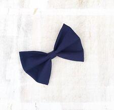 "Plain Navy Blue hair bow on clip 4"" Pin up"