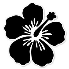 "Hibiscus Flower Black car bumper sticker window decal 4"" x 4"""
