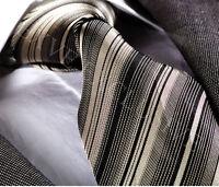 SILVER GREY STRIPE SILK TIE (& HANKY) - ITALIAN DESIGNER Milano Exclusive