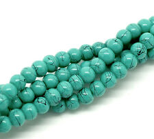 210 Turquoise With Black Splashes Glass 4mm Beads (1 Strand) J18244xf